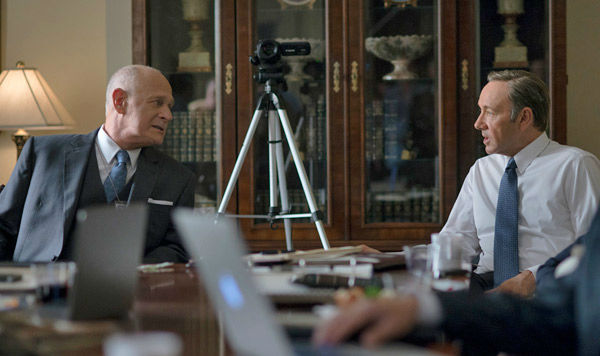 Gerald McRaney &#40;L&#41; and Kevin Spacey &#40;R&#41; appear in a scene from season 2 of Netflix&#39;s &#39;House of Cards.&#39;  <span class=meta>(Nathaniel Bell for Netflix)</span>