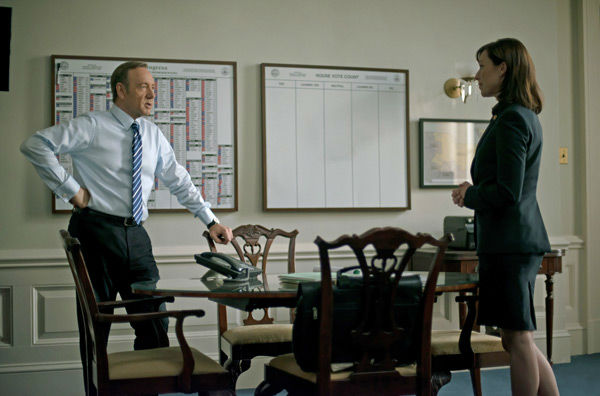 Kevin Spacey and Molly Parker appear in a scene from season 2 of Netflix&#39;s &#39;House of Cards.&#39; <span class=meta>(Nathaniel Bell for Netflix)</span>