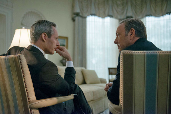 "<div class=""meta ""><span class=""caption-text "">Michel Gill (L) and Kevin Spacey (R) appear in a scene from season 2 of Netflix's 'House of Cards.' (Nathaniel Bell for Netflix)</span></div>"