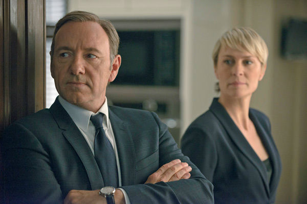 Kevin Spacey and Robin Wright appear in a scene from season 2 of Netflix's 'House of Cards.'