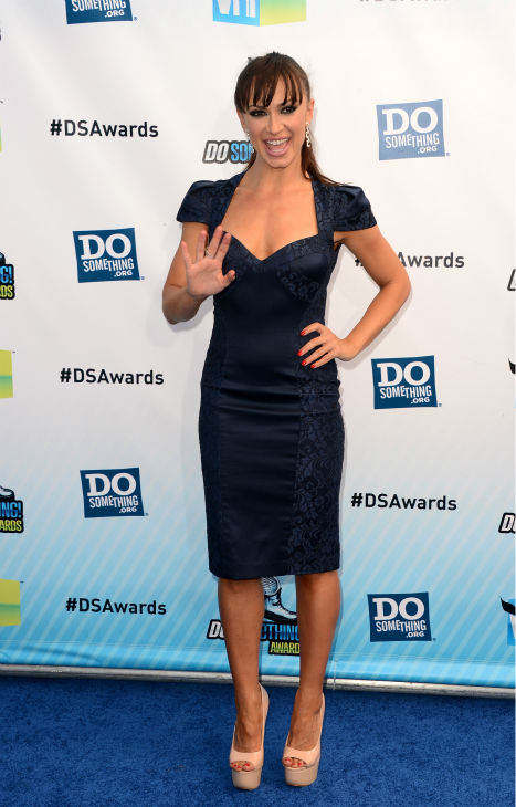 "<div class=""meta ""><span class=""caption-text "">'Dancing With The Stars' cast member Karina Smirnoff arrives at the 2012 Do Something Awards at Barker Hangar on August 19, 2012 in Santa Monica, California. (Jason Merritt / Getty Images)</span></div>"