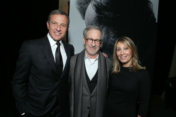 President and CEO of The Walt Disney Company Bob Iger, Director&#47;Producer Steven Spielberg and Partner, Co-Chairman and CEO of DreamWorks Pictures Stacey Snider attend the world premiere of DreamWorks Pictures&#39; &#39;Lincoln&#39; at AFI Fest 2012, held at Grauman&#39;s Chinese Theatre in Hollywood, on Nov. 8, 2012. <span class=meta>(Eric Charbonneau &#47; WireImage)</span>