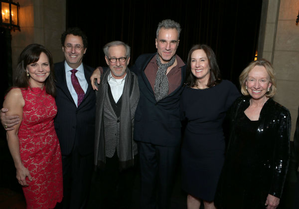 "<div class=""meta ""><span class=""caption-text "">Sally Field, screenwriter Tony Kushner, director/producer Steven Spielberg, Daniel Day-Lewis, producer Kathleen Kennedy and author Doris Kearns Goodwin attend the world premiere of DreamWorks Pictures 'Lincoln' at AFI Fest 2012, held at Grauman's Chinese Theatre in Hollywood, on Nov. 8, 2012. (Eric Charbonneau / WireImage)</span></div>"