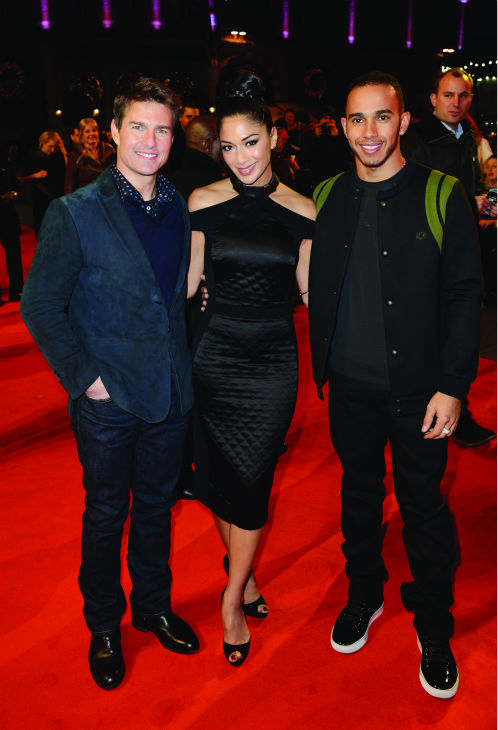 &#40;L-R&#41; Tom Cruise, Nicole Scherzinger and Lewis Hamilton attend the world premiere of &#39;Jack Reacher&#39; at The Odeon Leicester Square in London on Dec. 10, 2012. <span class=meta>(Dave J. Hogan &#47; Getty Images for Paramount)</span>