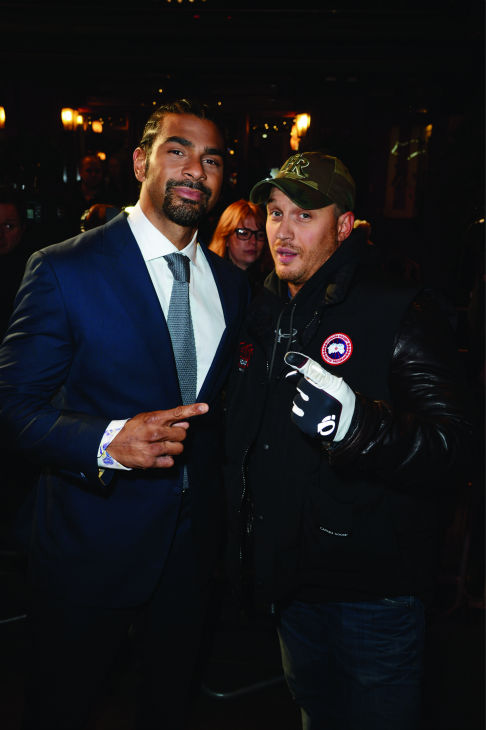 (L-R) David Haye and Tom Hardy attend the world...