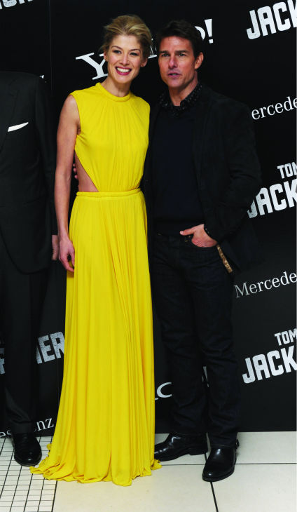 Tom Cruise and Rosamund Pike attend the world...