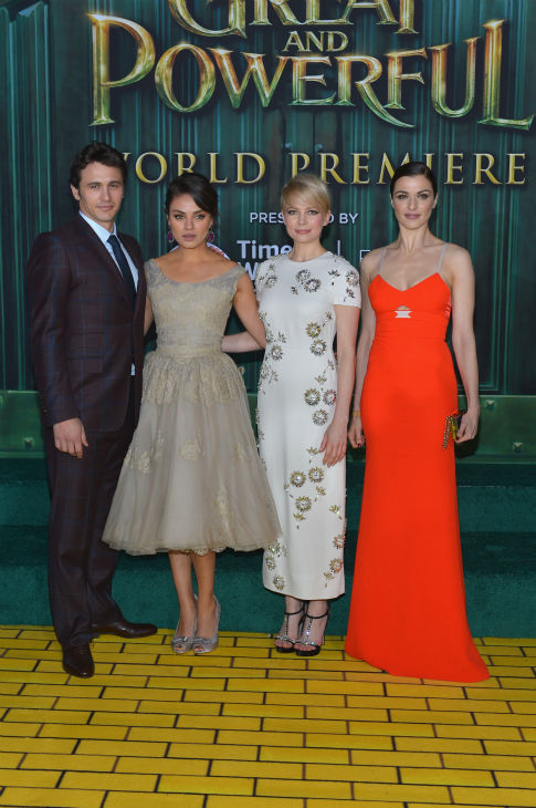 James Franco, Mila Kunis, Michelle Williams and Rachel Weisz attend Walt Disney Pictures&#39; world premiere of &#39;Oz The Great And Powerful&#39; at the El Capitan Theatre in Hollywood, California on February 13, 2013. <span class=meta>(Alberto E. Rodriguez &#47; WireImage)</span>