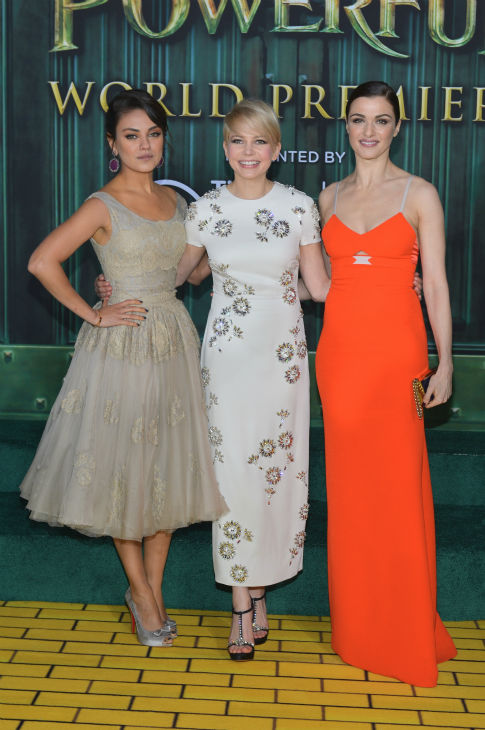 Actresses Mila Kunis, Michelle Williams and Rachel Weisz attend Walt Disney Pictures&#39; world premiere of &#39;Oz The Great And Powerful&#39; at the El Capitan Theatre in Hollywood, California on February 13, 2013. <span class=meta>(Alberto E. Rodriguez &#47; WireImage)</span>