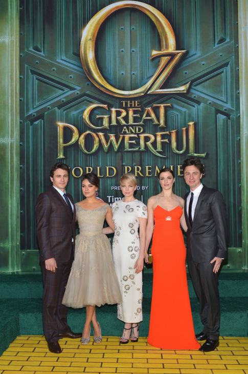 James Franco, Mila Kunis, Michelle Williams, Rachel Weisz and Zach Braff attend Walt Disney Pictures' world premiere of 'Oz The Great And Powerful' at the El Capitan Theatre in Hollywood, California on February 13, 2013.