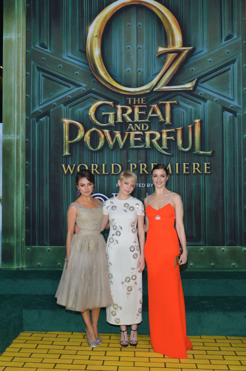 Mila Kunis, Michelle Williams and Rachel Weisz attend Walt Disney Pictures&#39; world premiere of &#39;Oz The Great And Powerful&#39; at the El Capitan Theatre in Hollywood, California on February 13, 2013. <span class=meta>(Alberto E. Rodriguez &#47; WireImage)</span>