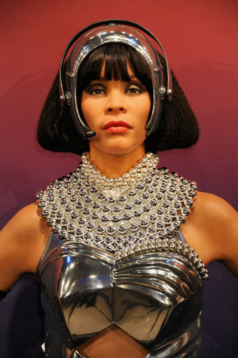 Madame Tussauds unveiled four wax figures of late singer Whitney Houston in New York on Feb. 7, 2013, almost one year after her death. This one depicts her in one of her cos