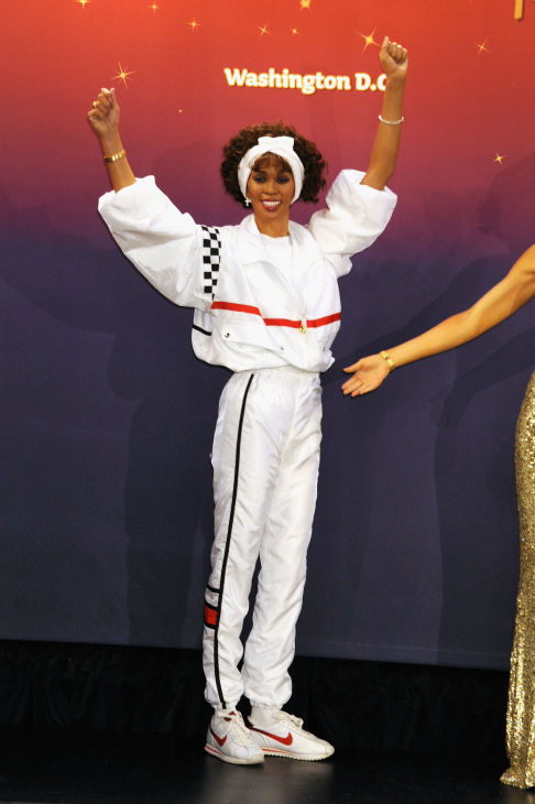 Madame Tussauds unveiled four wax figures of late singer Whitney Houston in New York on Feb. 7, 2013, almost one year after her death. This one depicts her in the outfit she wore for her performance at the 1991 Super Bowl and w