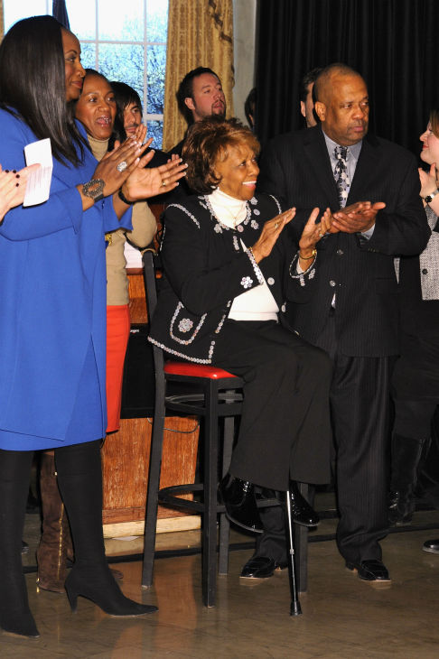 Cissy Houston (center) attends Madame Tussauds' unveiling of four wax figures of her daughter Whitney Houston on Feb. 7, 2013 in New York City.