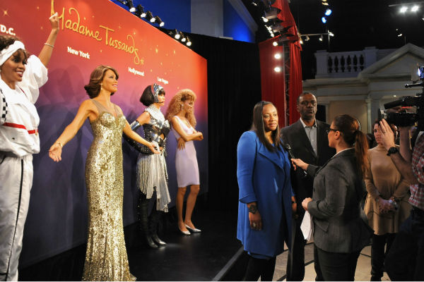 Gary Houston, brother of Whitney Houston, and wife Pat attend Madame Tussauds' unveili