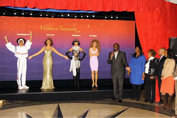 Gary Houston, brother of Whitney Houston, wife Pat and mother Cissy attend Madame Tussauds' unveiling of four wax fi