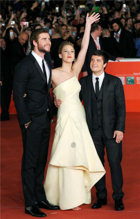 "<div class=""meta ""><span class=""caption-text "">Liam Hemsworth, Jennifer Lawrence and Josh Hutcherson appear at the premiere of 'The Hunger Games: Catching Fire' during the 2013 Rome Film Festival in Rome, Italy on Nov. 14, 2013. (Eric Vandeville / Startraksphoto.com)</span></div>"