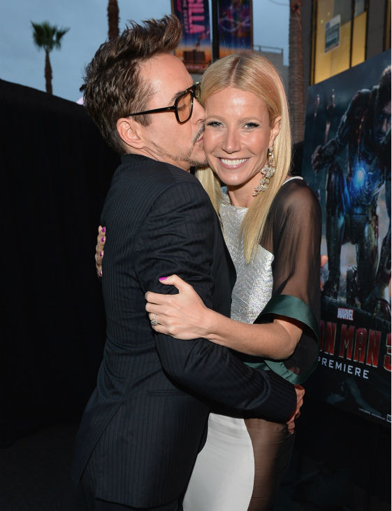 Actors Robert Downey Jr. and Gwyneth Paltrow attend Marvel&#39;s &#39;Iron Man 3&#39; Premiere at the El Capitan Theatre in Hollywood on April 24, 2013. Paltrow, dubbed the &#39;World&#39;s Most Beautiful Woman&#39; by People magazine, wore a white Antonio Berardi Fall 2013 gown with sheer sleeves and panels that showed off what appeared to be her bare hips.  <span class=meta>(Alberto E. Rodriguez &#47; WireImage &#47; Walt Disney Studios)</span>