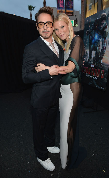 Actors Robert Downey Jr. and Gwyneth Paltrow attend Marvel's 'Iron Man 3' Premiere at the El Capitan Theatre in Hollywood on April 24, 2013.