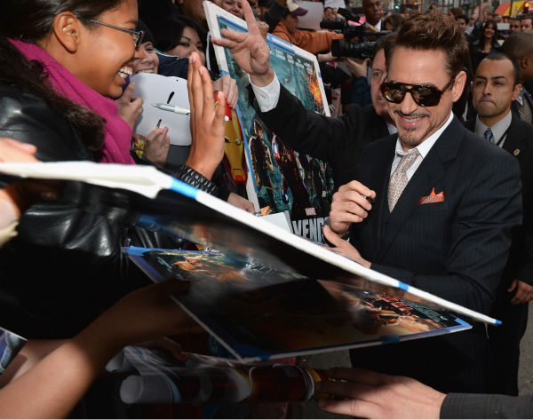 Actor Robert Downey Jr. attends Marvel's 'Iron Man 3' Premiere at the El Capitan Theatre in Hollywood on April 24, 2013.