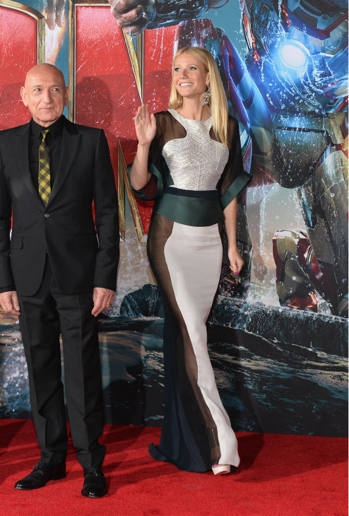 Actors Ben Kingsley and Gwyneth Paltrow attend Marvel's 'Iron Man 3' Premiere at the El Capitan Theatre in Hollywood on April 24, 2013.