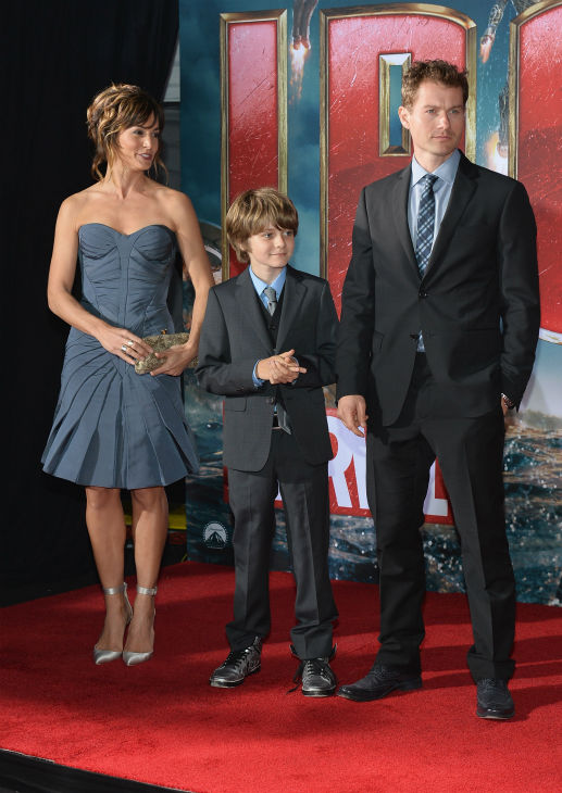 Actors Stephanie Szostak, Ty Simpkins and James Badge Dale attend Marvel's 'Iron Man 3' Premiere at the El Capitan Theatre in Hollywood on April 24, 2013.
