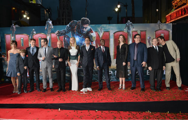 Actors Stephanie Szostak, Ty Simpkins, James Badge Dale, Guy Pearce, Ben Kingsley, Gwyneth Paltrow,  Robert Downey Jr., Don Cheadle, Rebecca Hall, Jon Favreau, William Sadler and director/writer Shane Black attend Marvel's 'Iron Man 3' Premiere at the El