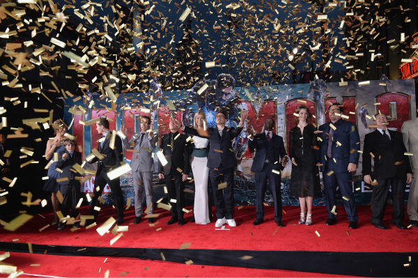Actors Stephanie Szostak, Ty Simpkins, James Badge Dale, Guy Pearce, Ben Kingsley, Gwyneth Paltrow,  Robert Downey Jr., Don Cheadle, Rebecca Hall, Jon Favreau, William Sadler and director&#47;writer Shane Black attend Marvel&#39;s &#39;Iron Man 3&#39; Premiere at the El Capitan Theatre in Hollywood on April 24, 2013. <span class=meta>(Alberto E. Rodriguez &#47; WireImage &#47; Walt Disney Studios)</span>