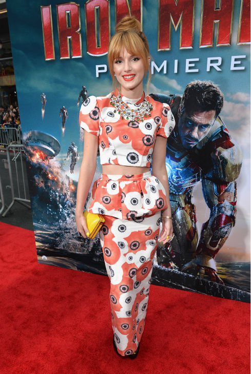 Actress Bella Thorne attends Marvel's 'Iron Man 3' Premiere at the El Capitan Theatre in Hollywood on April 24, 2013.