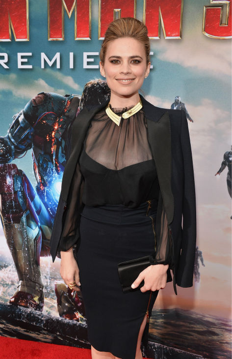 Actress Hayley Atwell attends Marvel's 'Iron Man 3' Premiere at the El Capitan Theatre in Hollywood on April 24, 2013.