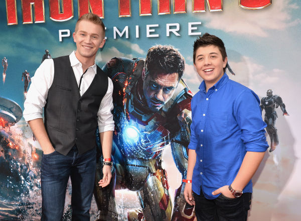 Actors Jason Dolley and Bradley Perry attend Marvel's 'Iron Man 3' Premiere at the El Capitan Theatre in Hollywood on April 24, 2013.
