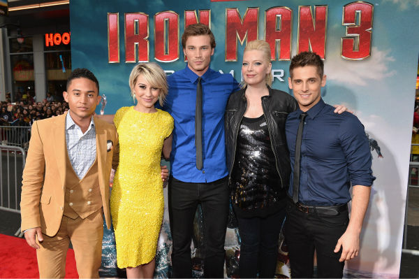 Actors Tahj Mowry, Chelsea Kane, Derek Theler, Melissa Peterman and Jean-Luc Bilodeau attend Marvel's 'Iron Man 3' Premiere at the El Capitan Theatre in Hollywood on April 24, 2013.