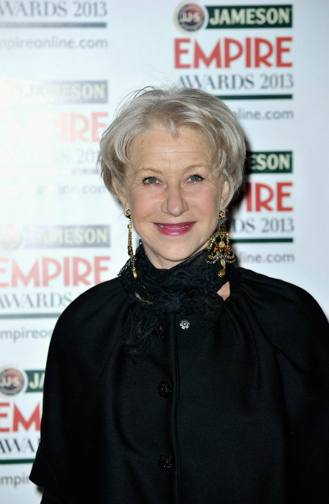 Dame Helen Mirren arrives at the Jameson Empire Awards at Grosvenor House on March 24, 2013 in London, England. Renowned for being one of the most laid-back awards shows in the British movie calendar, the Jameson Empire Awards are chosen by readers of Empire Magazine, who vote for their favorites. <span class=meta>(Jameson via Getty Images)</span>