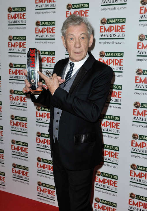Sir Ian McKellen poses in the press room with the Best Science Fiction&#47;Fantasy award during the Jameson Empire Awards at Grosvenor House on March 24, 2013 in London, England. Renowned for being one of the most laid-back awards shows in the British movie calendar, the Jameson Empire Awards are chosen by readers of Empire Magazine, who vote for their favorites. <span class=meta>(Jameson via Getty Images)</span>