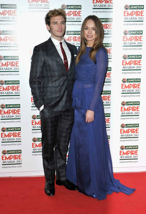 Sam Claflin and Laura Haddock arrive at the Jameson Empire Awards at Grosvenor House on March 24, 2013 in London, England. Renowned for being one of the most laid-back awards shows in the British movie calendar, the Jameson Empire Awards are chosen by readers of Empire Magazine, who vote for their favorites. <span class=meta>(Jameson via Getty Images)</span>