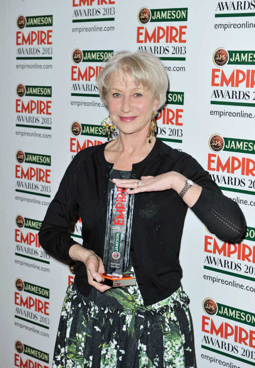 Dame Helen Mirren poses with the Empire Legend award at the Jameson Empire Awards at Grosvenor House on March 24, 2013 in London, England. Renowned for being one of the most laid-back awards shows in the British movie calendar, the Jameson Empire Awards are chosen by readers of Empire Magazine, who vote for their favorites. <span class=meta>(Jameson via Getty Images)</span>