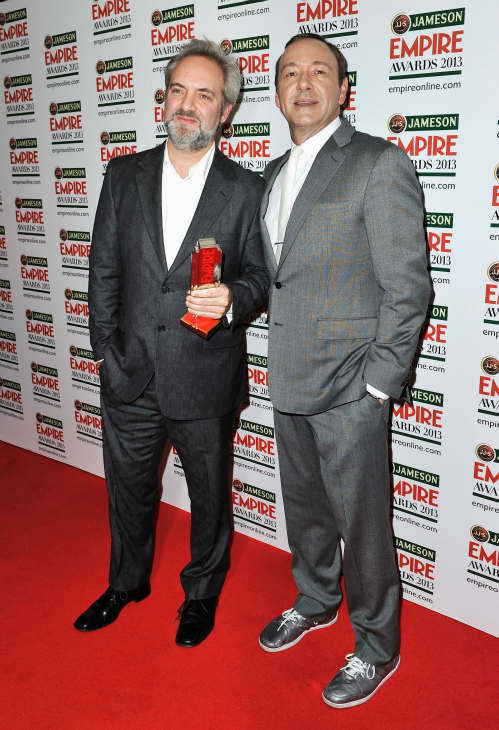 Sam Mendes &#40;L&#41; poses with the Empire Inspiration award and Kevin Spacey at the Jameson Empire Awards at Grosvenor House on March 24, 2013 in London, England. Renowned for being one of the most laid-back awards shows in the British movie calendar, the Jameson Empire Awards are chosen by readers of Empire Magazine, who vote for their favorites. <span class=meta>(Jameson via Getty Images)</span>