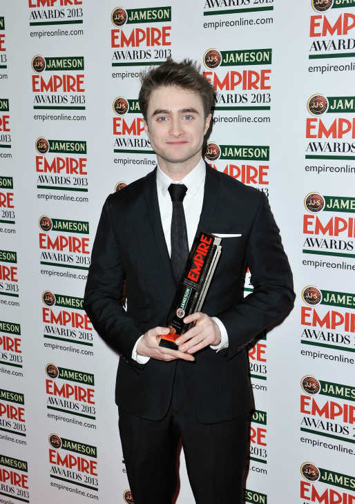 Daniel Radcliffe poses with the Empire Hero award at the Jameson Empire Awards at Grosvenor House on March 24, 2013 in London, England. Renowned for being one of the most laid-back awards shows in the British movie calendar, the Jameson Empire Awards are chosen by readers of Empire Magazine, who vote for their favorites. <span class=meta>(Jameson via Getty Images)</span>