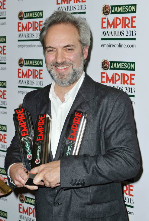 Director Sam Mendes poses with the Empire Inspiration, as well as the Best Director and Best Film awards for &#39;Skyfall&#39; at the Jameson Empire Awards at Grosvenor House on March 24, 2013 in London, England. Renowned for being one of the most laid-back awards shows in the British movie calendar, the Jameson Empire Awards are chosen by readers of Empire Magazine, who vote for their favorites. <span class=meta>(Getty Images for Jameson)</span>