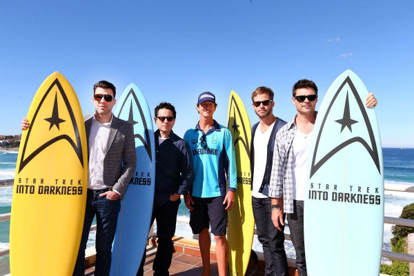 Zachary Quinto &#40;Spock&#41;, director J.J. Abrams, Lifeguard Dean &#39;Deano&#39; Gladstone, Chris Pine &#40;Kirk&#41; and Karl Urban &#40;Bones&#41; pose at Bondi Beach at the &#39;Star Trek Into Darkness&#39; photo call on April 22, 2013 in Sydney, Australia.  <span class=meta>(Marianna Massey &#47; Getty Images for Paramount Pictures International)</span>