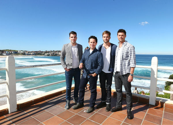 Zachary Quinto &#40;Spock&#41;, director J.J. Abrams, Chris Pine &#40;Kirk&#41; and Karl Urban &#40;Bones&#41; pose at Bondi Beach at the &#39;Star Trek Into Darkness&#39; photo call on April 22, 2013 in Sydney, Australia.  <span class=meta>(Marianna Massey &#47; Getty Images for Paramount Pictures International)</span>