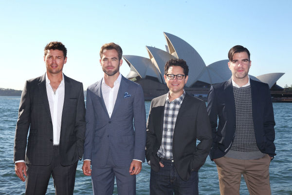 Karl Urban &#40;Bones&#41;, Chris Pine &#40;Kirk&#41;, director J.J. Abrams and Zachary Quinto &#40;Spock&#41; pose at the &#39;Star Trek Into Darkness&#39; photo call on April 22, 2013 in Sydney, Australia. <span class=meta>(Marianna Massey &#47; Getty Images for Paramount Pictures International)</span>