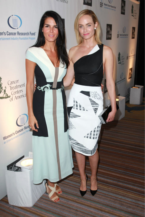 Angie Harmon, wearing a Carolina Herrera dress &#40;L&#41;, and Amber Valletta appear at the EIF Womens Cancer Research Fund&#39;s 16th Annual &#39;An Unforgettable Evening&#39; event, presented by Saks Fifth Avenue, at the Beverly Wilshire Four Seasons Hotel on May 2, 2013 in Beverly Hills, California. <span class=meta>(Joe Scarnici &#47; Getty Images for EIF)</span>