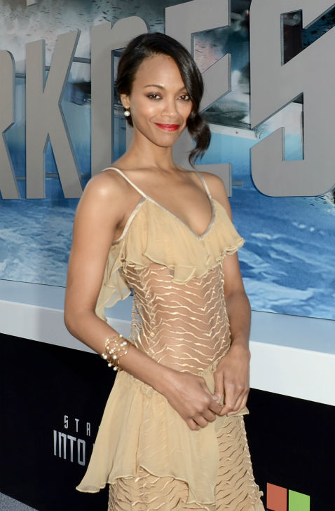 "<div class=""meta image-caption""><div class=""origin-logo origin-image ""><span></span></div><span class=""caption-text"">Zoe Saldana (Uhura), wearing a nude, silk, ruffled Rodarte Fall 2013 dress, attends the premiere of Paramount Pictures' 'Star Trek Into Darkness' at the Dolby Theatre in Hollywood, California on May 14, 2013.  (Kevin Winter / Getty Images for Paramount Pictures)</span></div>"