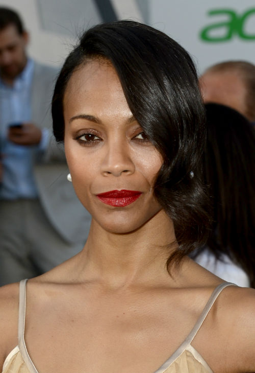 Zoe Saldana &#40;Uhura&#41;, wearing a nude, silk, ruffled Rodarte Fall 2013 dress, attends the premiere of Paramount Pictures&#39; &#39;Star Trek Into Darkness&#39; at the Dolby Theatre in Hollywood, California on May 14, 2013.  <span class=meta>(Kevin Winter &#47; Getty Images for Paramount Pictures)</span>
