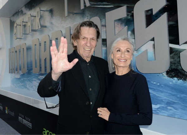 Leonard Nimoy, 82, &#40;original Spock&#41; and wife Susan Bay attend the premiere of Paramount Pictures&#39; &#39;Star Trek Into Darkness&#39; at the Dolby Theatre in Hollywood, California on May 14, 2013. Nimoy is giving his character&#39;s Vulcan &#39;Live Long and Prosper&#39; salute. <span class=meta>(Kevin Winter &#47; Getty Images for Paramount Pictures)</span>