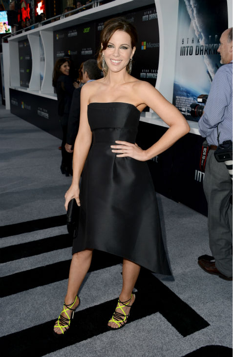 Kate Beckinsale &#40;celebrity guest&#41; attends the premiere of Paramount Pictures&#39; &#39;Star Trek Into Darkness&#39; at the Dolby Theatre in Hollywood, California on May 14, 2013. She wearing a black, strapless, asymmetrical Alberta Ferretti Pre-Fall 2013 dress and black and yellow Jimmy Choo sandals. <span class=meta>(Kevin Winter &#47; Getty Images for Paramount Pictures)</span>