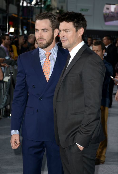 Chris Pine &#40;Kirk&#41; and Karl Urban &#40;Bones&#41; attend the premiere of Paramount Pictures&#39; &#39;Star Trek Into Darkness&#39; at the Dolby Theatre in Hollywood, California on May 14, 2013. <span class=meta>(Kevin Winter &#47; Getty Images for Paramount Pictures)</span>