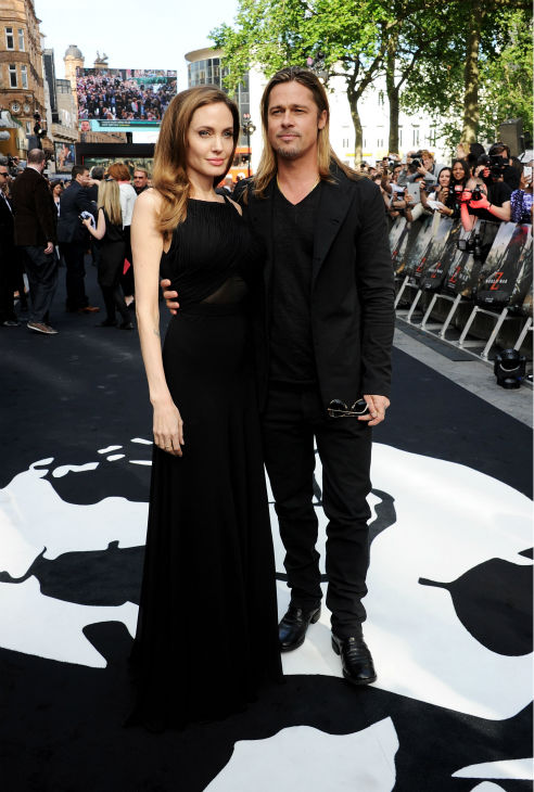 "<div class=""meta image-caption""><div class=""origin-logo origin-image ""><span></span></div><span class=""caption-text"">Cast member Brad Pitt and fiancee Angelina Jolie attend the world premiere of 'World War Z' at the Empire Cinema Leicester Square in London on June 2, 2013. (Dave M. Benett / WireImage for Paramount)</span></div>"