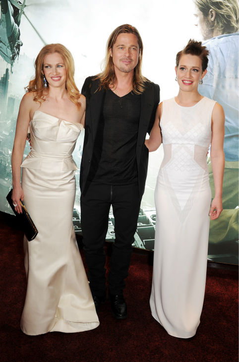 Cast members Mireille Enos, Brad Pitt and Daniella Kertesz attend the world premiere of &#39;World War Z&#39; at the Empire Cinema Leicester Square in London on June 2, 2013. <span class=meta>(Dave M. Benett &#47; WireImage for Paramount)</span>
