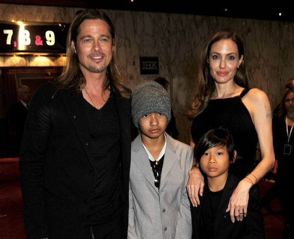 Cast member Brad Pitt, fiancee Angelina Jolie and sons Maddox and Pax, two of their six children, attends the world premiere of &#39;World War Z&#39; at the Empire Cinema Leicester Square in London on June 2, 2013. <span class=meta>(Dave M. Benett &#47; WireImage for Paramount)</span>